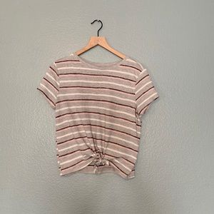 Striped short sleeved tie top